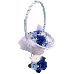 バスケットブーケ シンデレラ ブートニア付き 高級造花 カゴブーケ 造花 バスケット フラワーアレンジ プリンセス|jd-bridal