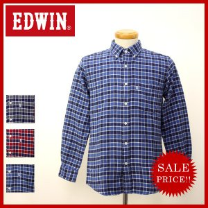 EDWIN エドウィン 大人のふだん着 チェックシャツ 二重織り ボタンダウン きれいめ L S 長袖シャツ トップス エドウィン メンズ ET2020|jeans-yamato