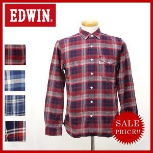 EDWIN エドウィン インディゴ チェック ワーク シャツ オーバーチェック フラップ ポケット 長袖 メンズ エドウィン ET2048 jeans-yamato