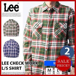 Lee ネルシャツ メンズ Lee シャツ 長袖 チェックシャツ リー メンズ トップス WORK SHIRT LT0583|jeans-yamato