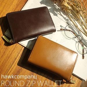 1cd93951b5b8 ホークカンパニー 財布 Hawk Company 男女兼用 本革 レザー ラウンドファスナー ハーフ ウォレット 二つ折 財布 7207