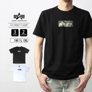 ALPHA INDUSTRIES Tシャツ 半袖 アルファインダストリーズ Tシャツ 半袖 ロゴ S/S PRINT T-SHIRT 迷彩 カモフラ TC1345|jeans-yamato