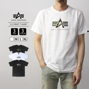 ALPHA INDUSTRIES Tシャツ 半袖 アルファインダストリーズ Tシャツ 半袖 ロゴ S/S PRINT T-SHIRT 迷彩 カモフラ TC1345-1|jeans-yamato
