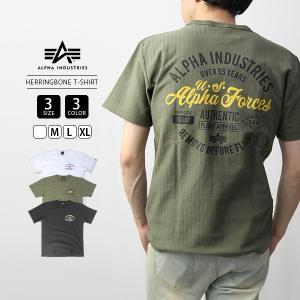 ALPHA INDUSTRIES Tシャツ 半袖 アルファインダストリーズ Tシャツ 半袖 ヘリンボーン S/S HERRINGBONE PRINT T-SHIRT TC1351|jeans-yamato