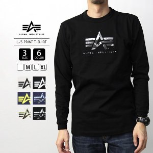 ALPHA INDUSTRIES Tシャツ 半袖 アルファインダストリーズ Tシャツ 半袖 L/S PRINT T-SHIRT TC1375|jeans-yamato
