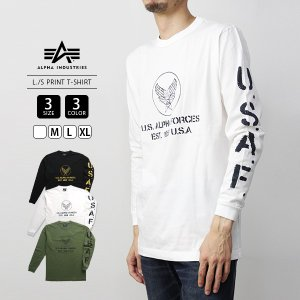 ALPHA INDUSTRIES Tシャツ 半袖 アルファインダストリーズ Tシャツ 半袖 L/S PRINT T-SHIRT TC1375-1|jeans-yamato