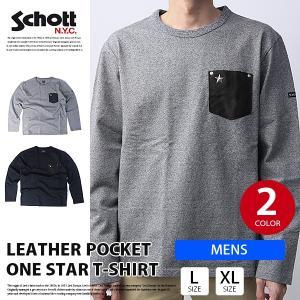 schott Tシャツ 長袖 ロンT ショット レザーポケット LEATHER POCKET ONE STAR T-SHIRT バイカー バイク乗り 3173078|jeans-yamato