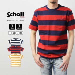 Schott Tシャツ ショット Tシャツ ボーダー ポケT 半袖 S/S Tee プリントTシャツ メンズ トップス  3193067|jeans-yamato