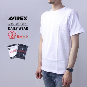 ネコポス対応 AVIREX アビレックス メンズ デイリーウエア 半袖 クルーネック パックTシャツ 2PIECE 6183380|jeans-yamato