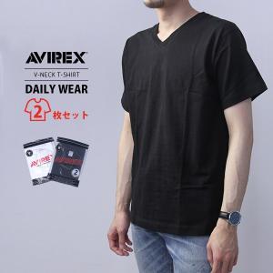 ネコポス対応 AVIREX アビレックス メンズ デイリーウエア 半袖 Vネック パックTシャツ 2PIECE 6183381|jeans-yamato