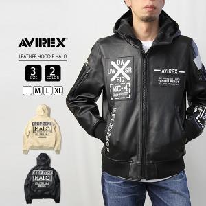 AVIREX レザージャケット AVIREX アウター アヴィレックス アビレックス LEATEHR HOODIE HALO Avirex Military Camp 6191061|jeans-yamato