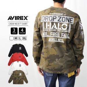 AVIREX Tシャツ 長袖 アヴィレックス アビレックス ロンT CREW NECK T-SHIRT HALO Avirex Military Camp 6193489|jeans-yamato