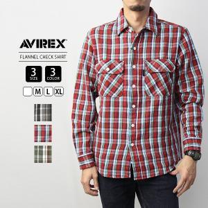 アビレックス チェックシャツ 長袖 AVIREX シャツ アヴィレックス FLANNEL CHECK SHIRT デイリーウェア DAILY WEAR 6195127|jeans-yamato