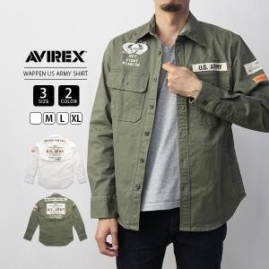 アビレックス シャツ 長袖 AVIREX シャツ アヴィレックス WOVEN WAPPEN US ARMY SHIRT シャツジャケット 6195135|jeans-yamato