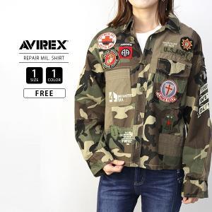 AVIREX レディース シャツ 長袖 アヴィレックス アビレックス トップス PATCHES REPAIR MIL.SHIRT 6295025|jeans-yamato