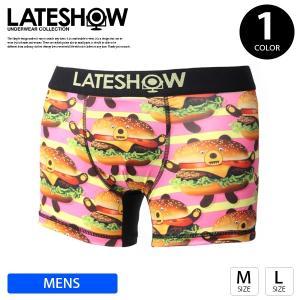 ネコポス対応 ボクサーパンツ メンズ ブランド おしゃれ LATE SHOW ボクサーパンツ 下着 アンダーウェア Burger Bear KUMA 18508400|jeans-yamato