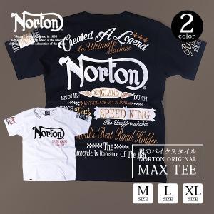 ノートン シャツ NORTON 半袖Tシャツ MAX TEE 刺繍 ユニオン バイカース バイク ノートンtシャツ トップス メンズ 182N1009|jeans-yamato