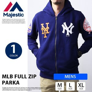 マジェスティック 野球 パーカー Majestic ジップパーカー MLB FULL ZIP PARKA ヤンキース メッツ MM06-MLB-0120|jeans-yamato