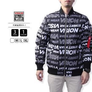 VISION STREET WEAR ジャケット MA-1 VISION ナイロンジャケット 中綿 ミリタリー 総柄 8723107 jeans-yamato