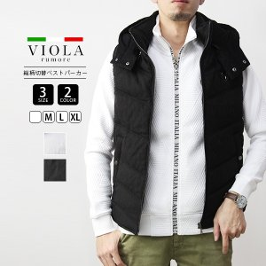 VIOLA RUMORE ベスト ヴィオラルモーレ 中綿ベスト アウター 総柄フルジップベストパーカー イタリア イタリアン ビター系 ラグジュアリー メンズ 01106|jeans-yamato