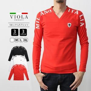 VIOLA RUMORE Tシャツ ヴィオラルモーレ ショルダープリントVネック 長袖 ロンT イタリア イタリアン ビター系 BITTER メンズ トップス 01116|jeans-yamato