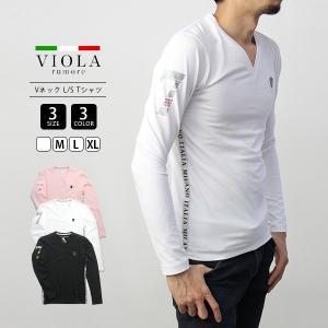 VIOLA RUMORE Tシャツ ヴィオラルモーレ サイドロゴVネック 長袖 ロンT イタリア イタリアン ビター系 BITTER メンズ トップス 01117|jeans-yamato