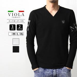 VIOLA RUMORE Tシャツ ヴィオラルモーレ Tシャツ 長袖 Vネックメンズ タックボーダー イタリア イタリアン ビター系 BITTER メンズ トップス 01118|jeans-yamato
