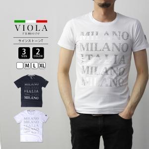 VIOLA RUMORE Tシャツ ヴィオラルモア Tシャツ ラインストーンT イタリア イタリアン ビター系 BITTER 半袖 メンズ トップス 91316|jeans-yamato
