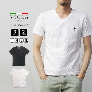 VIOLA RUMORE Tシャツ ヴィオラルモーレ ジャガードVネック 半袖 イタリア イタリアン ビター系 BITTER カットソー メンズ トップス 91321|jeans-yamato