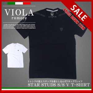VIOLA RUMORE ヴィオラルモア メンズ トップス Tシャツ Vネック ストレッチ天竺 ストーン A81330|jeans-yamato