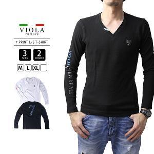 VIOLA RUMORE Tシャツ ヴィオラルモーレ Tシャツ 長袖 メンズ ロンT トップス イタリア イタリアン ビター系 BITTER PRINT V-NECK A91116|jeans-yamato