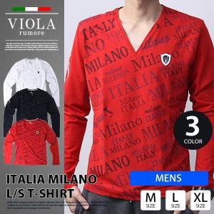 VIOLA RUMORE Tシャツ ヴィオラルモア Tシャツ 長袖 メンズ ロンT トップス イタリア イタリアン ビター系 BITTER PRINT V-NECK A91118|jeans-yamato