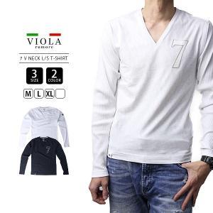 VIOLA RUMORE Tシャツ ヴィオラルモーレ Tシャツ 長袖 メンズ ロンT トップス イタリア イタリアン ビター系 BITTER PRINT V-NECK A91121|jeans-yamato