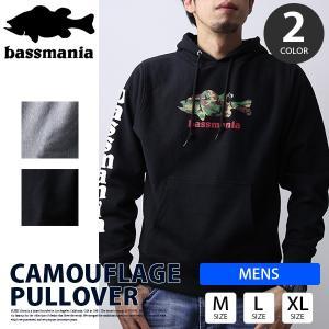 bassmania パーカー バスマニア パーカー プルオーバー Camouflage ブラックバス バスフィッシング バス釣り アウトドア BMPK06|jeans-yamato