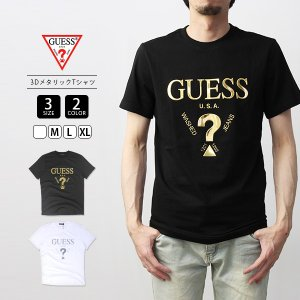 GUESS Tシャツ メンズ レディース ゲス Tシャツ 半袖 3Dメタリックプリント MJ2K9407K|jeans-yamato