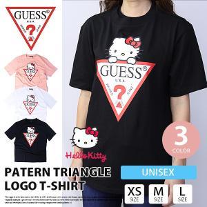 GUESS Tシャツ メンズ GUESS Tシャツ レディース ハローキティ コラボ TRIANGLE LOGO ゲス Tシャツ 大きいサイズ ユニセックス MZ3K7771HK|jeans-yamato