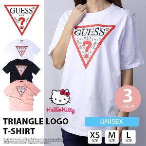 GUESS Tシャツ メンズ GUESS Tシャツ レディース ハローキティ コラボ TRIANGLE LOGO ゲス Tシャツ 大きいサイズ ユニセックス MZ3K7772HK|jeans-yamato