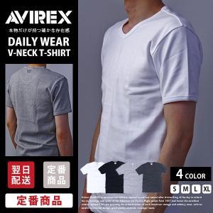 送料無料 ポイント10倍 AVIREX Tシャツ アビレックス Tシャツ Vネック Tシャツ 半袖 無地 デイリー インナー メンズ DAILY WEAR デイリーウェア 6143501|jeans-yamato