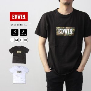 エドウィン EDWIN Tシャツ 半袖 プリント BASIC PRINT TEE 迷彩 カモフラ ET5680-1|jeans-yamato