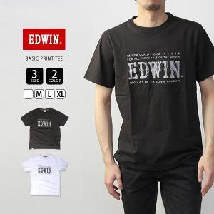 エドウィン EDWIN Tシャツ 半袖 プリント BASIC PRINT TEE かすれプリント ET5680-2|jeans-yamato