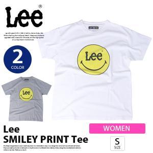 リー Tシャツ レディース Lee  Tシャツ SMILEY プリントTシャツ スマイルマーク ロゴ 半袖 S/S Tee カットソー トップス  LS7382|jeans-yamato