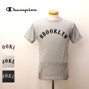 ネコポス対応 チャンピオン Tシャツ Champion Tシャツ キャンパス ブルックリン ロゴ プリント 半袖 Tシャツ ストーン ウォッシュ 天竺 C3-K323 jeans-yamato