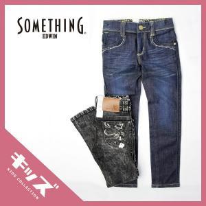 SOMETHING サムシング キッズ 女の子 ガールズ セレブ フラップ スキニー ジーンズ デニム ケミカル ブラック 子供服 110〜160cm JG1206|jeans-yamato
