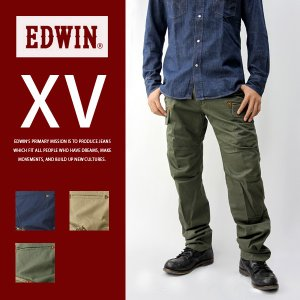 EDWIN エドウィン XV カーキ ジップ カーゴ チノベース ワイド ストレート メンズ エドウィン K46004|jeans-yamato