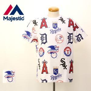 Majestic マジェスティック American・National リーグ Tシャツ MBL ア・リーグ 総柄 チームロゴ プリント 半袖 Tシャツ MM01-MLB-0260|jeans-yamato