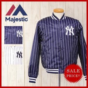 Majestic マジェスティック NY ニューヨーク ヤンキース ピン ストライプ スタジャン スタジアム ジャンバー メンズ MM23-NYK-0078|jeans-yamato