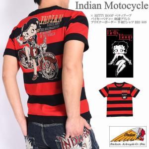インディアンモトサイクル × BETTY BOOP ベティブープ メンズ Tシャツ バイカーベティー 刺繍プリント プリズナーボーダー 半袖Tシャツ BBI-809-BLACK-RED