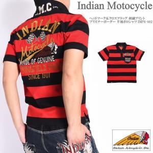 インディアンモトサイクル INDIAN メンズ ポロシャツ ヘッドマーク&クロスフラッグ 刺繍プリント プリズナーボーダー 半袖ポロシャツ IMPS-802-BLACK-RED