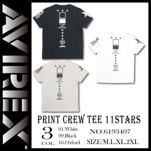 PRINT CREW TEE 11STARS   AVIREXより新作Tシャツが登場しました。 素材...