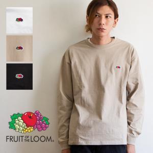 【 FRUIT OF THE LOOM フルーツオブザルーム 】ミニロゴ ワッペン クルーネック L/S 長袖 Tシャツ 0123-FLWP|jeansstation